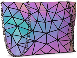 DIOMO Geometric Luminous Clutch Handbags for Women Holographic Reflective Crossbody Bag Shard Lattice Purse