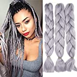 60cm Pelo Sintetico para Trenzas Africanas Extensiones de Cabello Jumbo Braids Crochet Braiding Hair Extensions 3PCS (Gris claro)