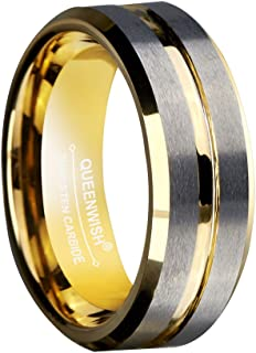 8mm Two Tone Tungsten Wedding Bands Gold Silver Brushed Promise Rings for Him & Her Size 5-14