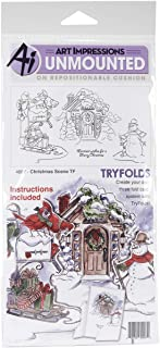 Art Impressions Try'folds Cling Rubber Stamps Christmas Scene, 10