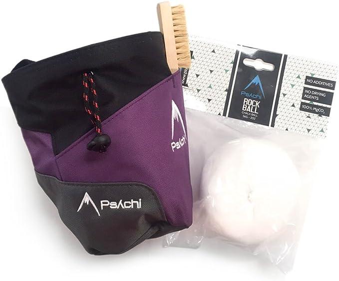 Psychi - Kit para Escalada en Bloque y Tradicional - con Bolsa y Correa para la Cintura, Bola de magnesio y Cepillo