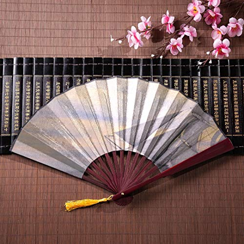 JXCSGBD Hand Portable Fan Sunken Ships On The Sea Floor with Bamboo Frame Tassel Pendant and Cloth Bag Hand Fan Handle Japanese Folding Fan Stand Best Hand Held Fan