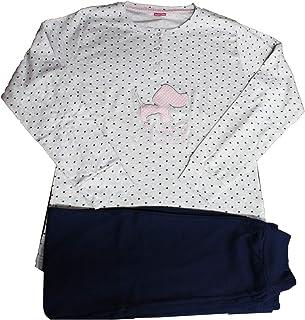 NUOVE Donna 100/% cotone bianco con blu e rosa cuori Pigiama//casa