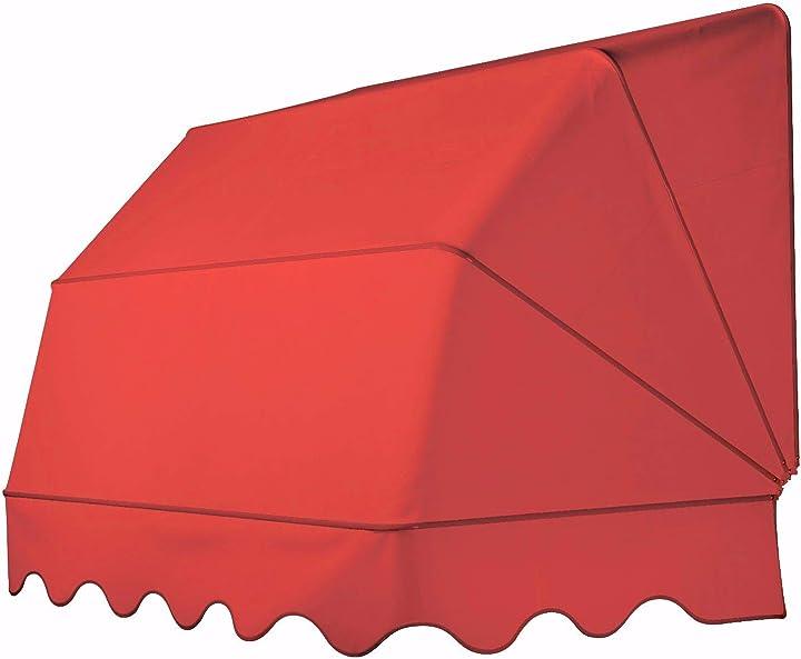 Tenda da sole modello cappottina a 4 raggi per balconi, verande, porte e finestre, realizzata in tessuto o pvc B07NHPSW1N