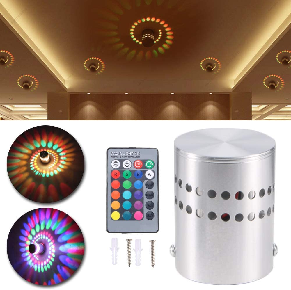 Paddsun 3W RGB Spiral LED Wall Lamp New York Mall New product type Ceiling with Light Remote Co