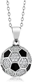 Sterling Silver Soccer Ball Pendant 1.30 Carat Round White Zirconia with 18 Inch Silver Chain