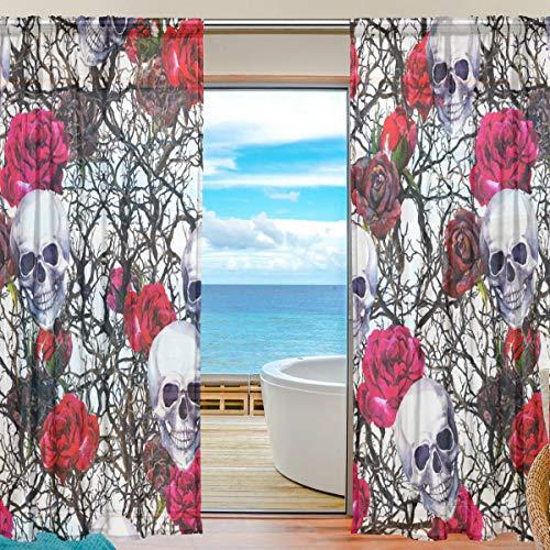 DOSHINE Vorhang mit Totenkopf-Blumen-Rosen-Zweig-Vorhang für Jungen, Mädchen, Wohnzimmer, Badezimmer, Schlafzimmer, 139,7 x 198 cm, 2 Paneele, Polyester, Multi, 55