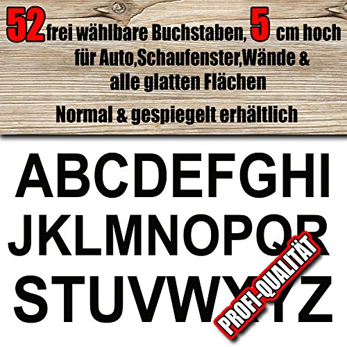 52 wetterfeste Buchstaben Aufkleber 5 cm höhe für innen/aussen, frei zusammenstellbar nach Ihren Wünschen, Große Farb & Schriftartauswahl, für Auto, Schaufenster, Wände & alle glatten Flächen, Blitzschneller Versand, Made in Germany, Wunschtext, Buchstabe, Sticker, Aufkleber, Normal oder gespiegelt lieferbar ,Klebebuchstaben,Ziffern,A-Z, Alphabet