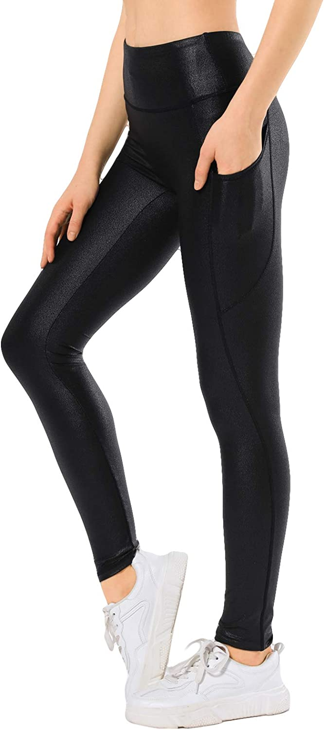 Retro Gong Womens Faux Leather Leggings Stretch High Waisted Pleather Yoga Pants with Pockets