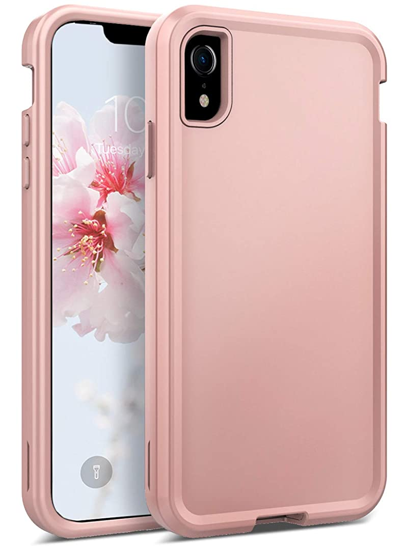Coolwee iPhone XR Case Rose Gold Full Protection Hybrid 3 in1 Heavy Duty Rugged Shockproof Case for Girls Women Men Matte 10r Protective Bumper Hard Shell Cover for Apple iPhone XR 6.1 inch Rose Gold