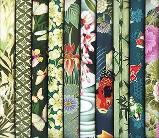10 Green Asian Japanese Fat Quarter Quilt Fabric Bundle #32 (2 1/2 Yards Total)