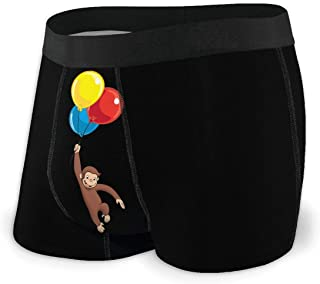 ANNWOLFE Curious George Mens Boxer Briefs Underwear Comfortable Breathable Tagless Short Leg Boxers Brief for Men Boys
