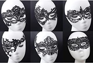Women's Black Lace Mask Party Ball Masquerade Fancy Dress Masks Pack of 6