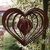 Dekostüberl Rostalgie Edelrost Windspiel Spirale Herz groß 30 x 26 cm, inkl. Herz 8x6cm Gartendeko Geschenk