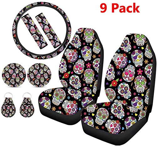 Showudesigns Sugar Skull Flower Print Car Front Seat Covers with Steering Wheel Cover Seatbelt Pads Cup Holder Coasters Keychains Auto Accessories Set 9 Pack