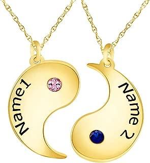 Wishrocks Set of Two Personalized Custom Engraved Disc Yin and Yang Couple Pendant Necklace