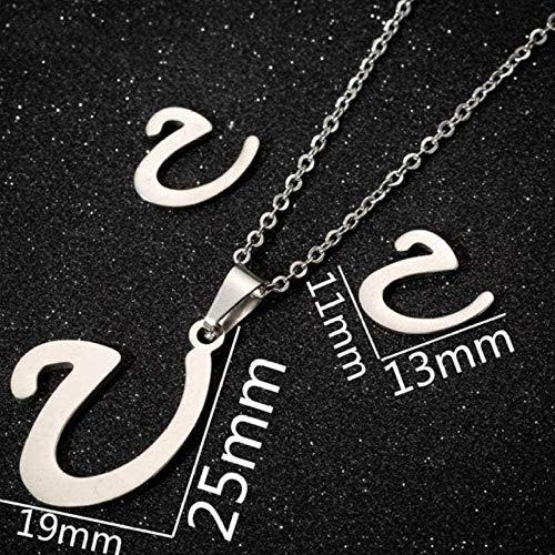 Collier Mode U - Minuscule Lettre Initiale en Acier Inoxydable personnalisé Boucles d'oreilles Alphabet Bijoux Tous Les Jours Demoiselles d'honneur
