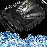 VARWANEO カーシート送風カバークールシートDC 12V強力ファン内蔵アイスシルク製 クールシート クッション カーシート 快適 車用 爽快エアーシート(ブラック)