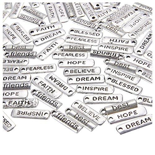 Word-bedelhangers - 100-Pack gegraveerde motiverende bedeltjes collectie voor sieraden maken, mode accessoires, doe-het-zelf kettingen, armbanden, Bangles, zilver, 0,8 x 0,25 inch