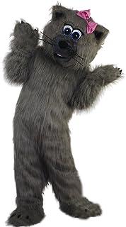 Langteng grå katt tecknad maskot kostym äkta bild 15-20 dagars leverans märke