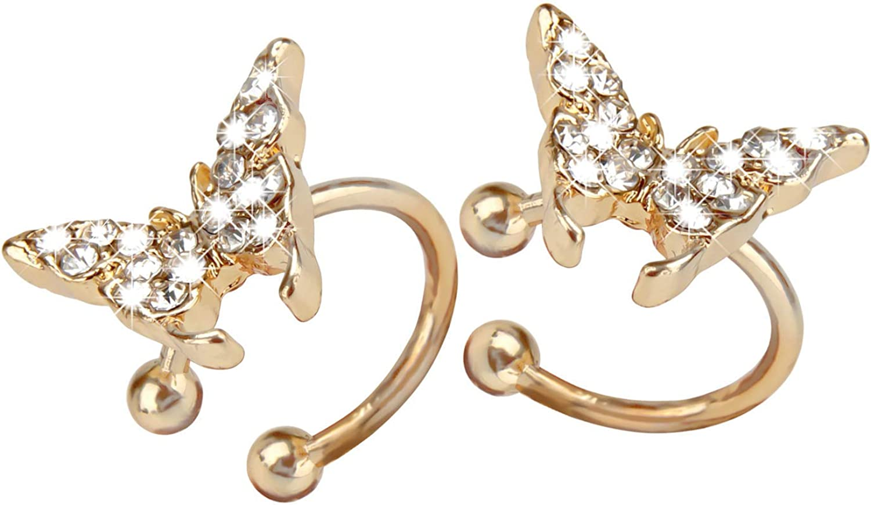 Tigoo Clip On Earrings Fake Earrings Fashion Ear Cuffs For Women Teen Girls Non Pierced Ears Small Hoop Cartilage Earring No Piercing Gold Plated Cute Butterfly Bee Cherry Earrings For Little Kids