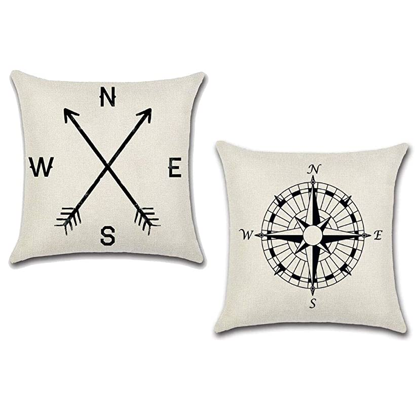 """7ColorRoom Set of 2 Compass Throw Pillow Covers Arrow Cushion Cover Square Home Decorative Pillow Cases Cotton Linen 18"""" x 18"""" (Navigation) (Compass1)"""