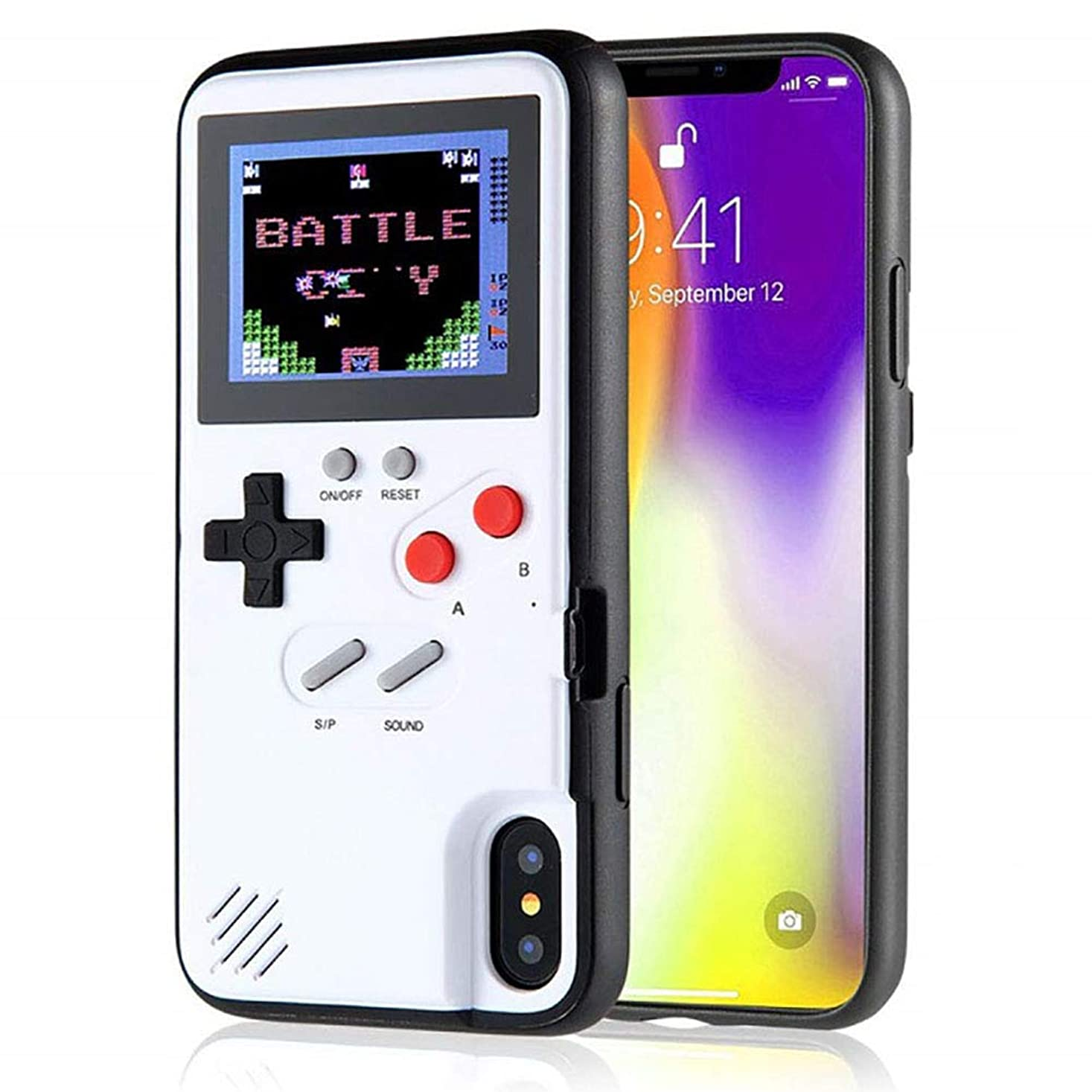 助言する驚かす飢饉iPhone用ゲームボーイケース、36の小さいゲーム、フルカラーディスプレイ、iPhone X/Xs/MAX/Xr / 6/7/8用のゲームケース(ホワイト、iPhone XR)