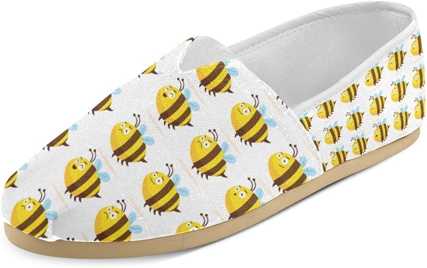 HUANGDAISY Unisex shoes Fat Honeybee Beehive Pattern Casual Canvas Loafers for Bia Kids Girl Or Men