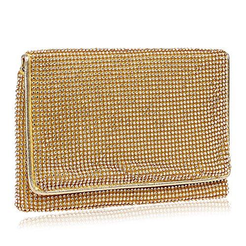 Femmes Banquet Pochette Mode Cadeau Du Soir Luxe Une épaule Diagonale Multifonctionnel Pack Shopping Rencontres Faire La Fête Voyage,Gold-OneSize