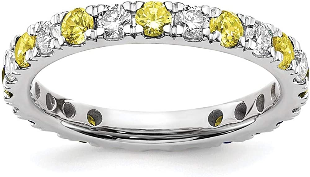 14k White Gold Lab Grown Diamond Si1/si2 G H I Created Yellow Sapphire Eternity Ban Size 8.00 Ring Gemstone Et Style Fine Jewelry For Women Gifts For Her