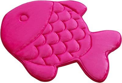 TINTON LIFE Washable Cartoon Ground Mat Fish Shaped Memory Foam Mat Rug for Doormat Kitchen Bedroom Bathroom (Rose Red)