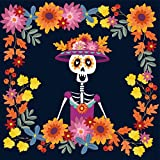 Baocicco 5x5ft Day of The Dead Backdrop Cartoon Skeleton with Flower Decorations Mexican Fiesta Photography Background Dia DE Los Muertos Supplies All Soul's Day Halloween Birthday Party Decor