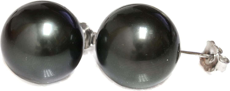 14K Gold - 12mm Black Tahitian South Sea Cultured Pearl Stud Earrings - AA Quality