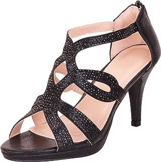 Women's Crystal Rhinestone Cutout Platform Mid Heel Dress Sandal