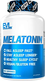 Evlution Nutrition Melatonin, 5mg of High Potency Melatonin in Each Tablet, Sleep Support, Fall Asleep Fast, Stay Asleep L...