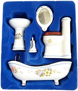 Posee Dollhouse Bathroom Set 1/12 Scale Toilet Ceramic Miniature Furniture Accessories (White)