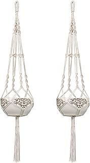 Mkono 2Pcs Macrame Plant Hangers Indoor Outdoor Hanging Planter Basket Cotton Rope 4 Legs 41 Inch