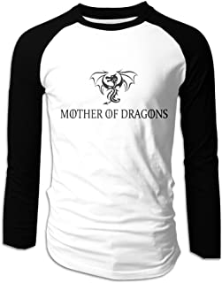 Creamfly Mens Mother Of Dragons Game Of Thrones Long Sleeve Raglan Baseball Tshirt