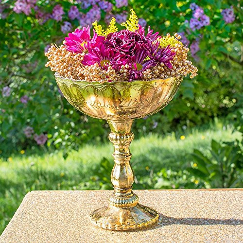 Accent Decor Gold Mercury Glass Compote, Scalloped Edge, Relief Pattern, 9.5 inch, Antique Inspired, Bowl, Pedestal, Centerpiece, (Gold)