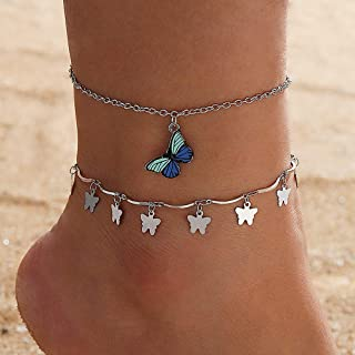YERTTER Set of 2 Boho Silver Chain Anklet Butterfly Anklet Barefoot Sandals Ankle Bracelet Beach Wedding Foot Chain Jewelr...