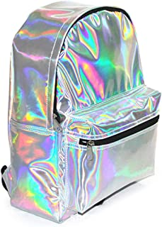 Zicac Girl's Sliver Holographic Laser Leather Backpack School Bookbag Travel Casual Daypack (Silver)