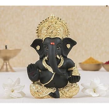 Gold art india India 24 K Gold Plated Kaai Green Ganesha Statue for Car Dashboard God Ganesh Murti Ganpati Idol Figurine with Gift Box Gifts Home Decor