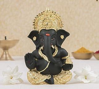 Gold Art India Ceramic Ganesha Car Dashboard Idol, 6 x 8, Gold and Kai Green