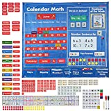 INDRAK Math Calendar for Elementary School-Classroom Pocket Chart for Daily Math Activities All About Number Activities for Elementary and Pre-school-Included with 20-Frames Cards Numbers For Sentence