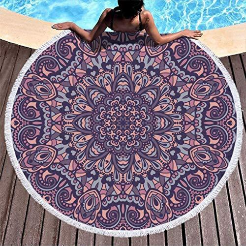 Aubrdon Manta de Toalla de Playa Redonda - Toalla de Felpa geométrica púrpura Mandala Altamente Absorbente con Borla 150cm