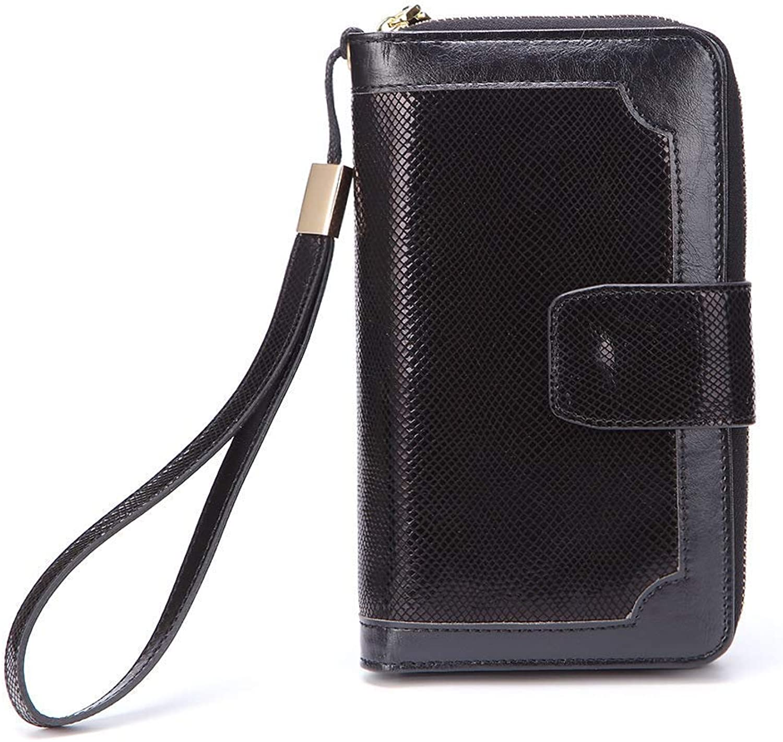 Girls Purse Ladies Leather Wallet Fashion Zipper Mobile Phone Bag Long MultiFunction Purse (color   Black)