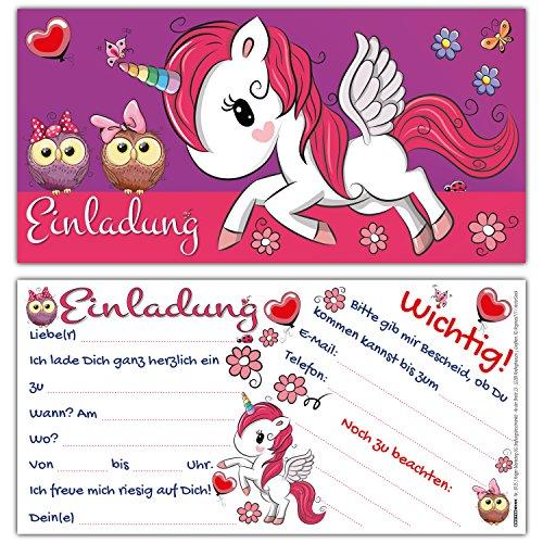 12 Einhorn Einladungskarten im Karten-Set zum Kinder-Geburtstag - Gaststars: 2 süße Eulen - Einladungen für Mädchen Geburtstags-Party von BREITENWERK
