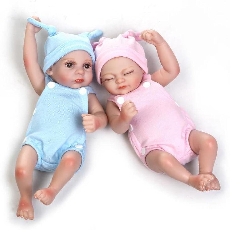 LZTET Zwillinge Reborn Babypuppen Handgemachte Lebensechte Realistische Silikon Vinyl Baby Puppe Weiche Simulation 10 Zoll 26 cm,Twins B07FNTWD4D Schön    Rabatt