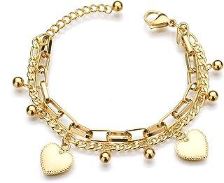 KH Heart Bracelets for Women Gifts Charms Bracelet Stainless Steel Multilayer Bracelet Birthday Christmas Jewelry Gift for...