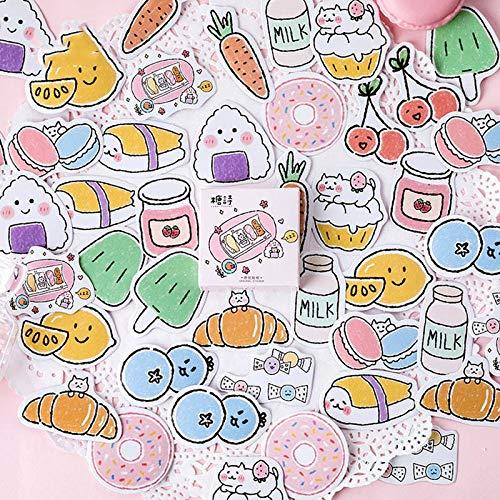 Etiqueta engomada Linda Kawaii Foods Decor Sticker Bullet Journal Sticker para niños niñas DIY Scrapbooking Diary Album45pcs